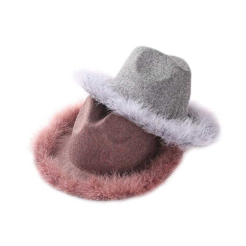 1 pieza marca unids 100% lana alta calidad Fedoras caliente Otoño Invierno  flor moda señoras 5bd605d0223