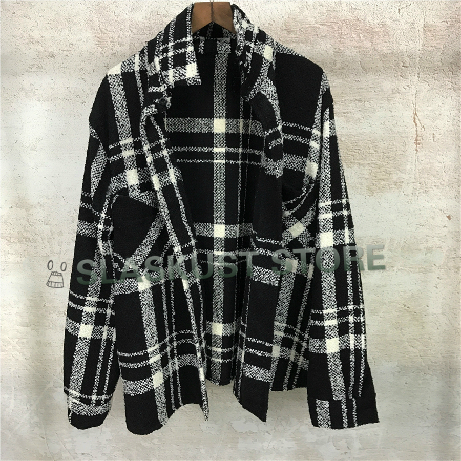 Winter Thick Black&White Checkered Flannel Shirt Men Patched Pockets Button Up Plaid Coat Free Shipping