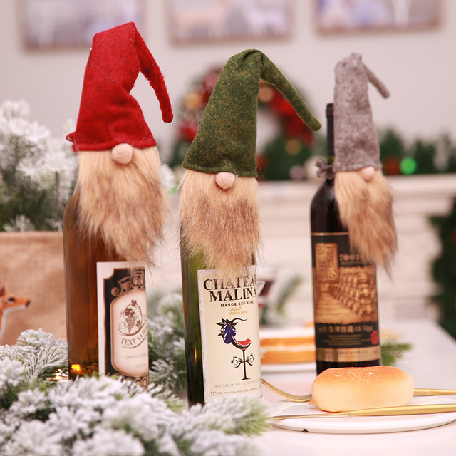 Nordic Santa Claus Dwarf Doll Wine Bottle Cap Cover Christmas Ornaments for Dinner Party Christmas Eve Decorations SD463