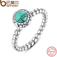 BAMOER Birthday Blooms Ring December Turquoise Stackable Bubble Ring 100% 925 Sterling Silver Jewelry PA7162