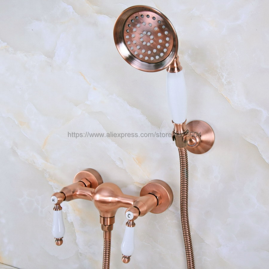 Bathroom Antique Red Copper Shower Faucet Bath Faucet Mixer Tap With Hand Shower Faucet Set Wall Mounted Nna298Bathroom Antique Red Copper Shower Faucet Bath Faucet Mixer Tap With Hand Shower Faucet Set Wall Mounted Nna298
