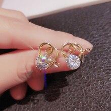 Utimtree Creative Design Heart Bowknot Stud earrings for Female Fashion Crystal Stone Earring Women Jewelry Drop Shipping heart design drop earrings