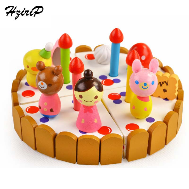 HziriP New Birthday Cake DIY Model Pretend Play Wood Toys Kids Boys Girls Early Educational Kitchen Food Toy Mini Birthday Gifts