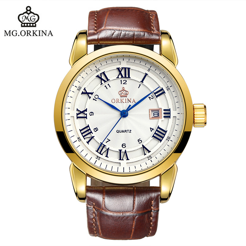 2016 Hot Orkina Simple Male Fashion Sports Quartz Watch Business Ultra thin Stainless Steel Belt Watch