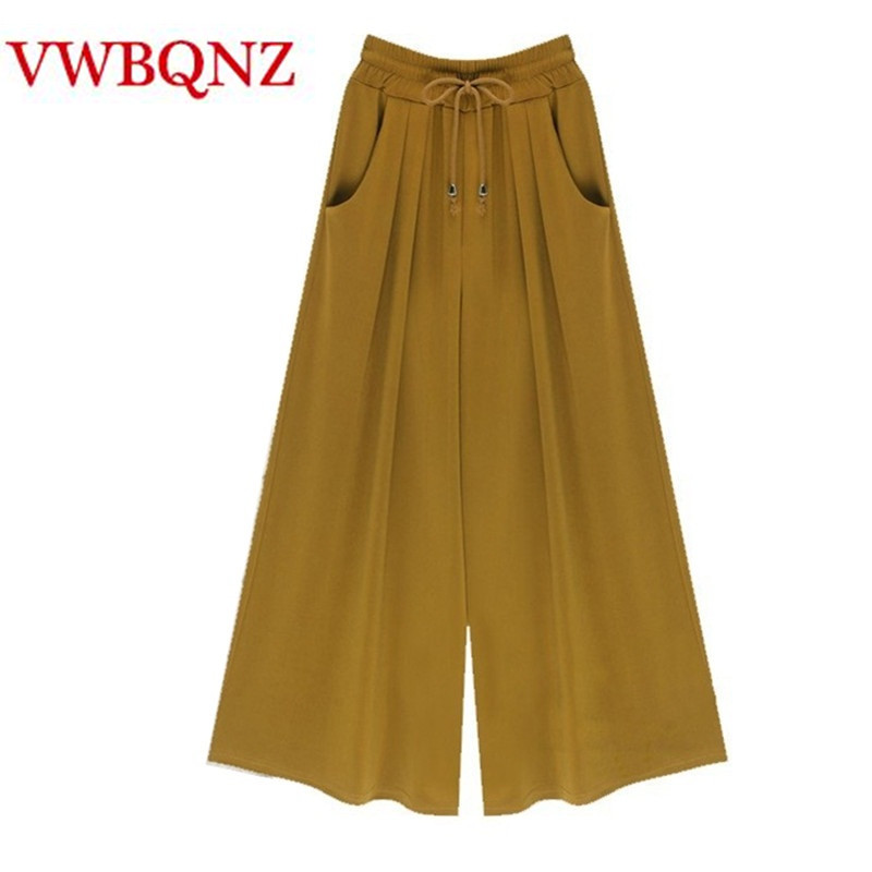 2018 New Spring Summer   Wide     leg     pants   Women's Clothing Plus Size M-4XL 5XL 6XL Loose Elastic waist Casual   Pants   Fashion Trousers