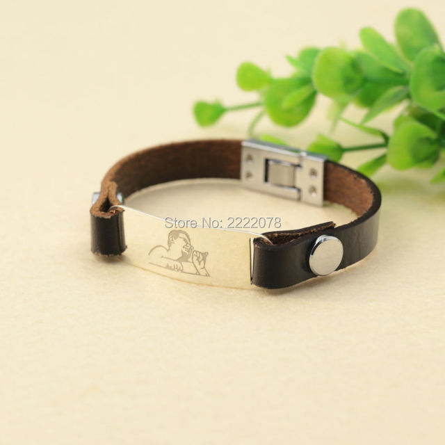 Engraving Photo Real Leather Bracelet Customizd Men 925 Solid Silver Charm Memorial Father Gift