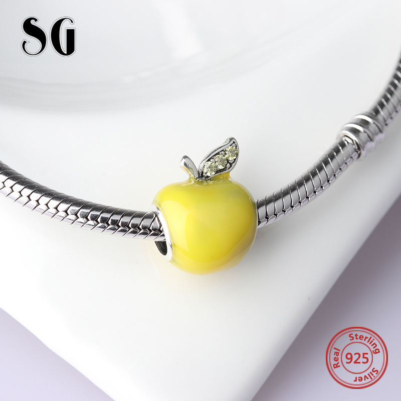 2018 Collection DIY Fit Original pandora Charms Bracelets Jewelry Making 925 Sterling Silver Yellow Enamel Apple making jewelry in Beads from Jewelry Accessories