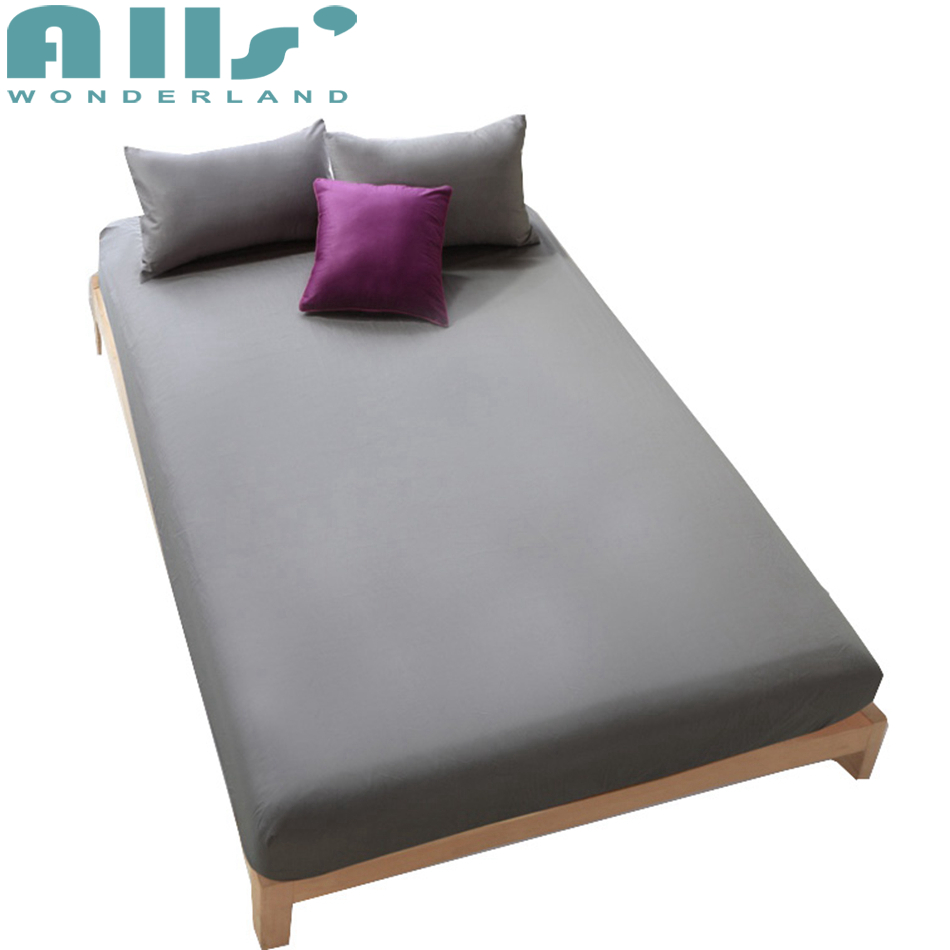 Deep Pocket fitted Sheet 1pc 100% cotton Bed Sheets Mattress Protector Cover grey white purple color Pad multi-size