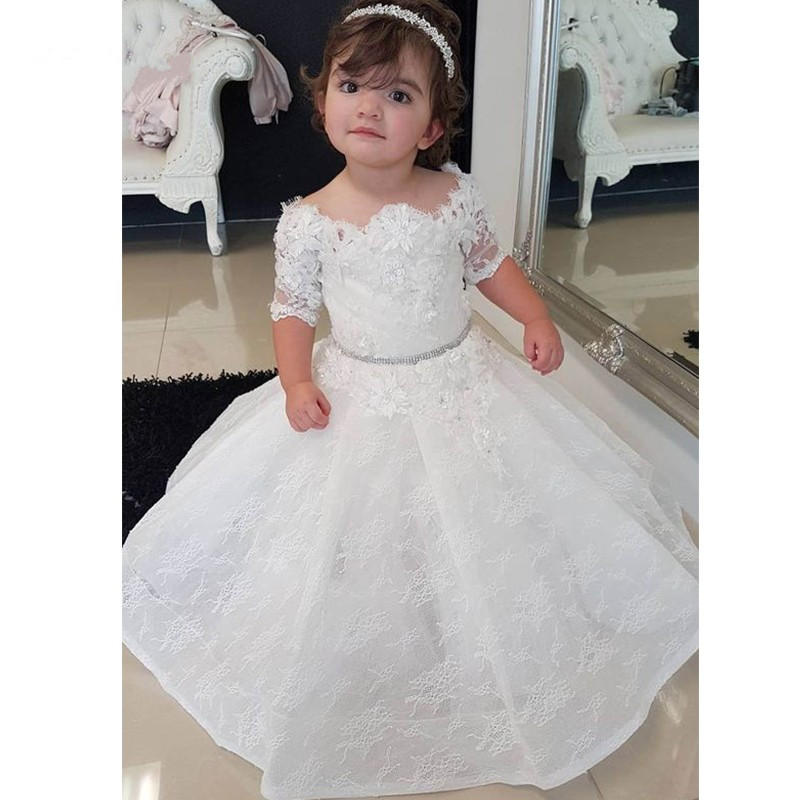 купить White Lace Flower Girls Dresses Princess Ball Gown Birthday Party Dresses with Appliques vestido de daminha Special Occasion онлайн