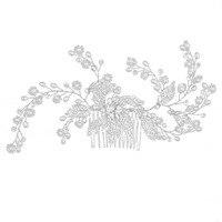 Chic Retro Dames Bruid Leaf Imitatie Parels Side Haar Kam Prom Bruids Hoofddeksel Accessoire