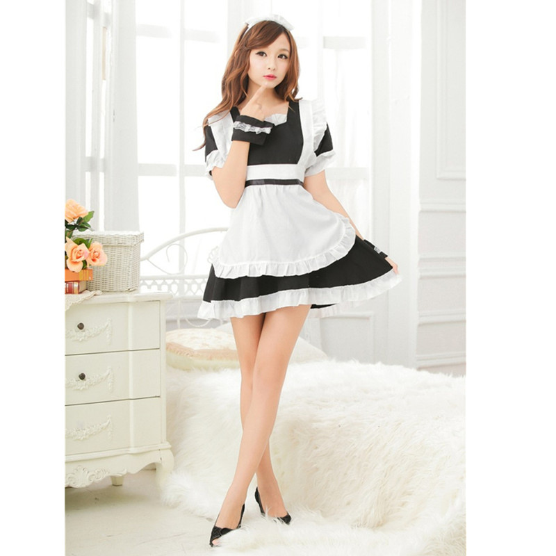 <font><b>XS</b></font> S M L XL plus size High Qualit Sexy French maid costume classic Halloween dress club wear white/black sexy <font><b>lingerie</b></font> maid image