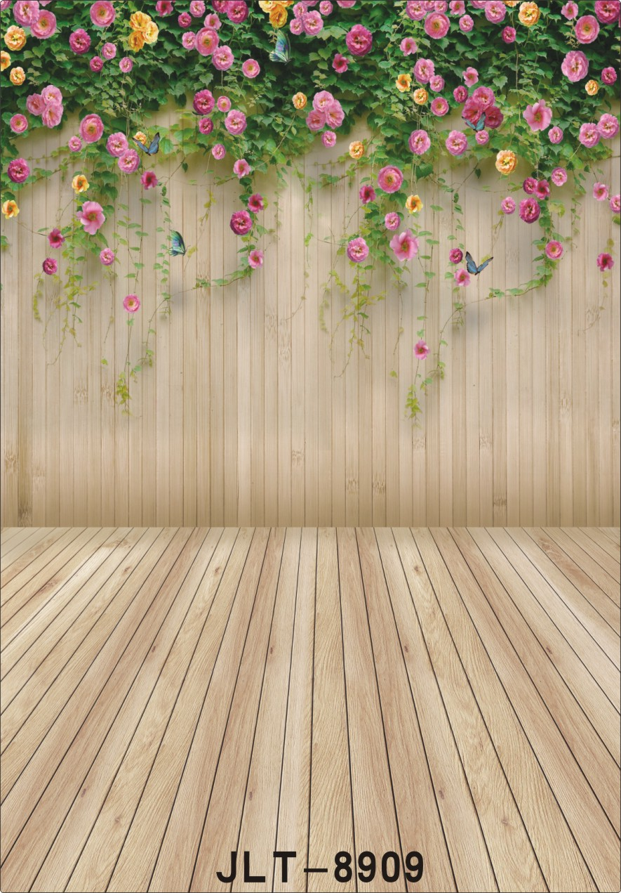 Photography Backgrounds for Photo Studio Flowers Wooden Plank Wall Vinyl Cloth Portrait Photo Backdrops for Wedding Kids Baby 12ft vinyl print cloth pink flower wall photography backdrops for photo studio portrait backgrounds photographic props f 1495