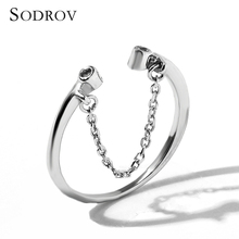Simple 100% Real 925 Sterling Silver Tassel Adjustable Clear Finger Ring Women Jewelry R013