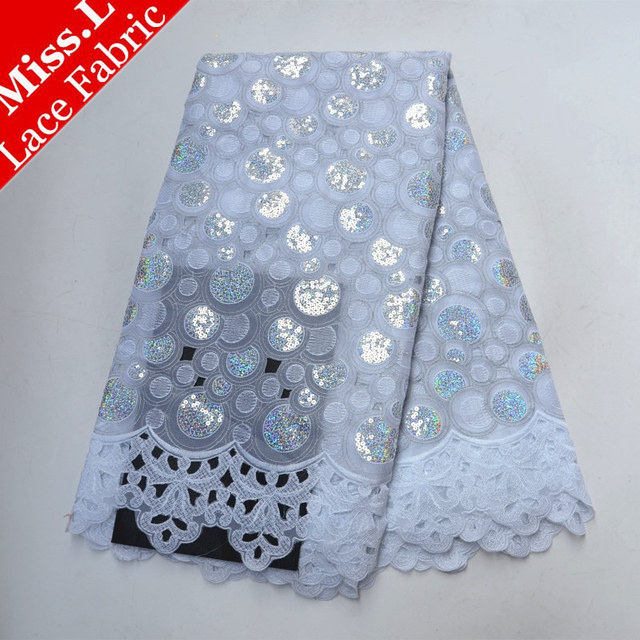 Miss L White african lace fabric 2018 high quality lace fabric Swiss Voile Lace in Switzerland With Sequins for Women Dresses