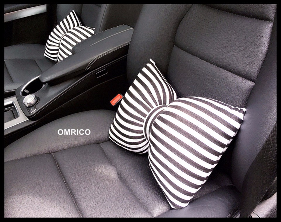 Fashionable Bowknot Car Headrest Neck Pillow Seat Back Support Cushion Waist Pillow for Decorative Women Girls Auto Safety Kits 5