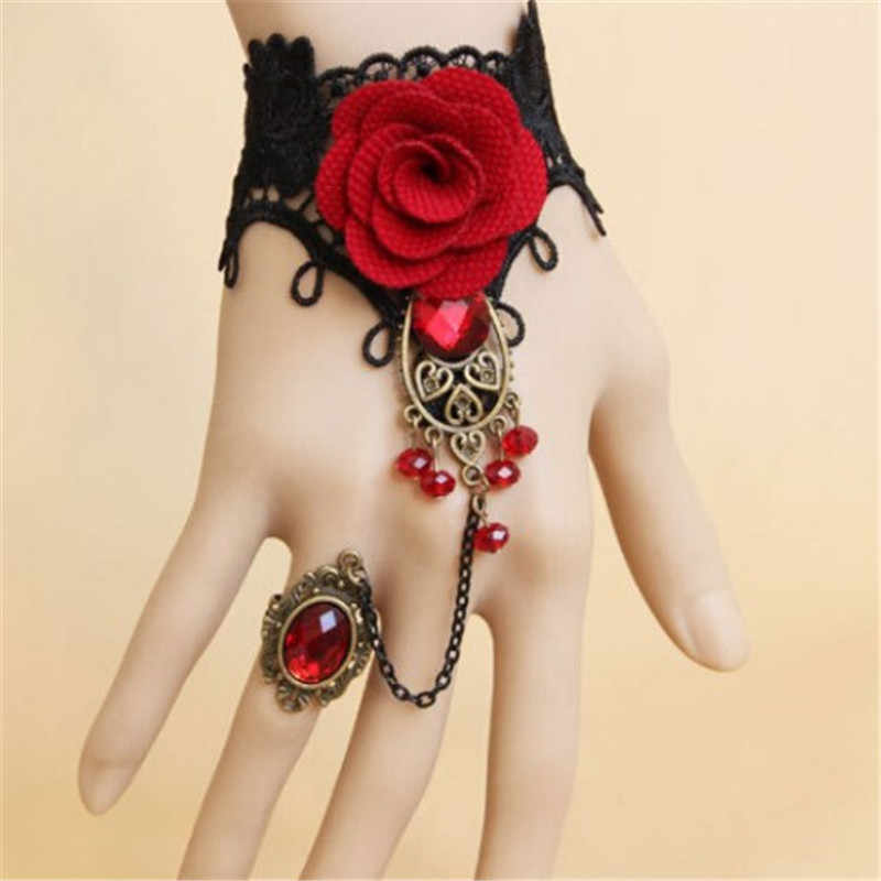 2019 new Retro Lace Red Rose Metal Bracelet Big Red Crystal fashion bracelet jewelry for female