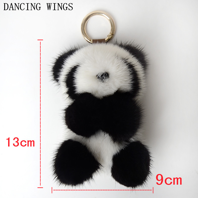 Cute Fluffy Genuine Real Mink Fur Pom Pom Plush Panda Keychain Key Ring Key Chain Women Bag Charm Accessories цены онлайн