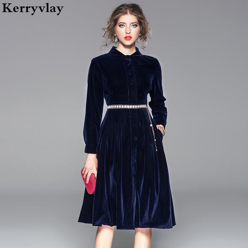 OL Lapel Thick Velvet Blue Office Dress Elegant Women Long Sleeve Winter Dresses Moda Mujer 2019