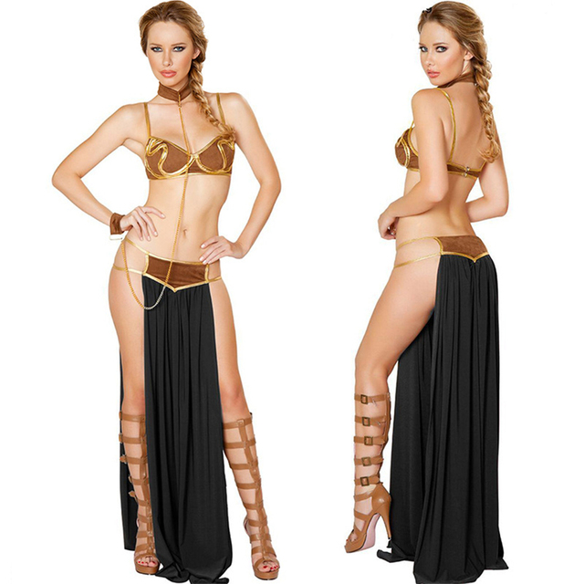 2018 New Sexy Carnival Star Wars Cosplay Princess Leia Slave Costume Dress Gold Bra and Neckchain  2