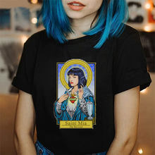 Vintage Femme T-shirt Pulp Fiction Tshirt Harajuku Kawaii Streetwear Korean Style Tops Mia Wallace Printed Female T-shirt(China)