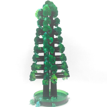 2019 275mm Green Magic Growing Paper Crystal Christmas Tree Kit Artificial Magical Bonsai Japanese Trees Science Kids Toys Funny