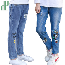Girls pants children Cartoon Denim Jeans Broken Holes Ripped Pants Kids Boys Trousers Soft Elastic Waist Casual toddler pants girls jeans small pants 2018 new children s korean version self cultivation fashion broken holes pencil pants