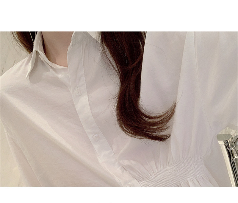 2019 Summer New Korean Version Of The Wild Long Paragraph 7 Points Sleeves Waist Loose Thin Temperament White Shirt Women (6)
