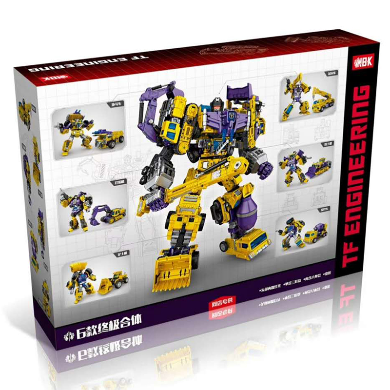 6 IN 1 NBK Transformation KO GT Kids Toys Devastator Robot Cars Action Figure Excavator Crane Scraper Blender Combiner Model Toy 2014 new high quality building blocks minifigures 4 in 1 combiner various models transformation robots cars action figure