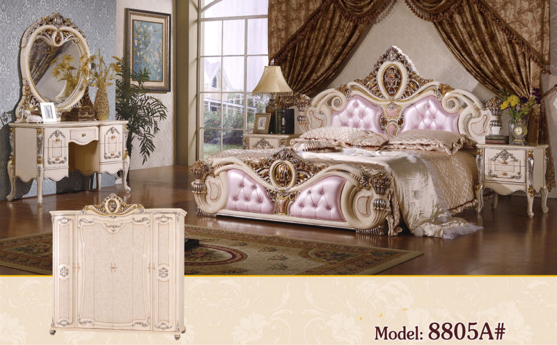 Amazing Luxury Suite Bedroom Furniture Of Europe Type Style Including 1 Bed 2  Bedside Table 1 Chest A Dresser And A Makeup Chair
