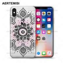 Aertemisi Phone Cases Pink Mandala Transparent Crystal Clear Soft TPU Case Cover for iPhone 5 5s SE 6 6s 7 8 Plus X(China)