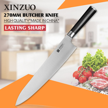 XINZUO 10.5 inch butcher knife 3-layer 440C clad steel santoku knife kitchen knife G10 handle Japanese chef knife free shipping