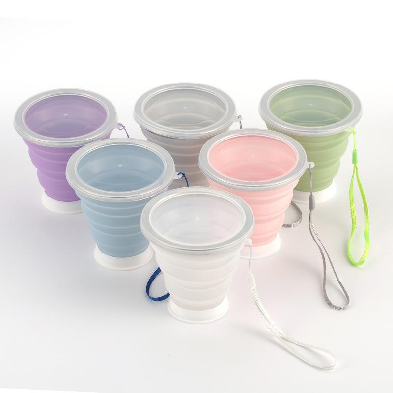 Folding Portable Cup Stainless Steel Silicone Retractable Cups Telescopic Collapsible Coffee Cups Outdoor Sport Water Cup