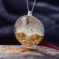 Lotus Fun Genuine 925 Sterling Silver Pendants for Women Shell Round Moon Ocean Silver Pendant without Necklace Fine Jewelry