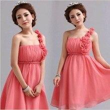 pink Bridesmaid Dresses 2016 fashion plue size flower short party Dress girl
