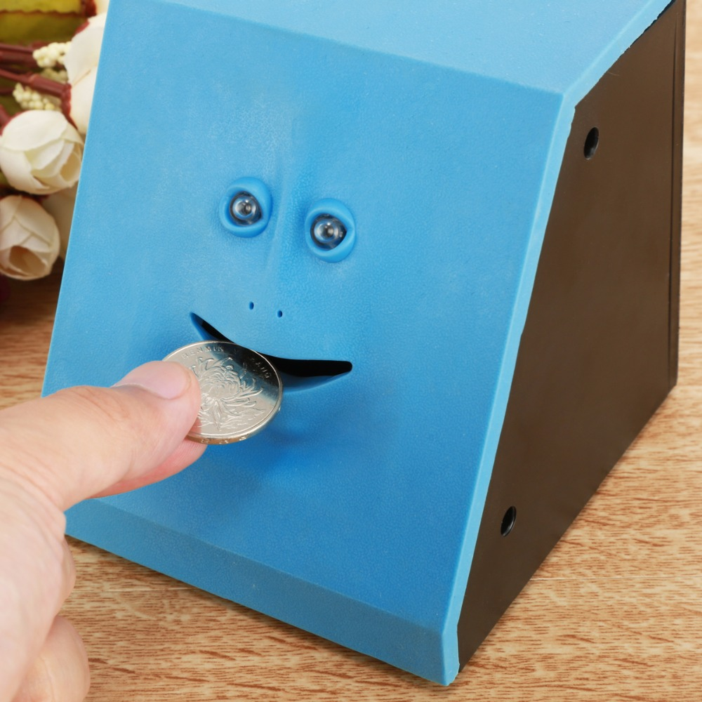 Funny Toys Face Money Eating Box Cute Face Bank Piggy Bank For Coins Box Money Coin Saving Bank For Children Birthday Toys Gifts
