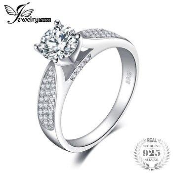 09b1adcc2fcd JewelryPalace moda ronda Zirconia cúbico boda anillo para mujer Real 925  plata esterlina anillo de joyería de moda regalo de cumpleaños