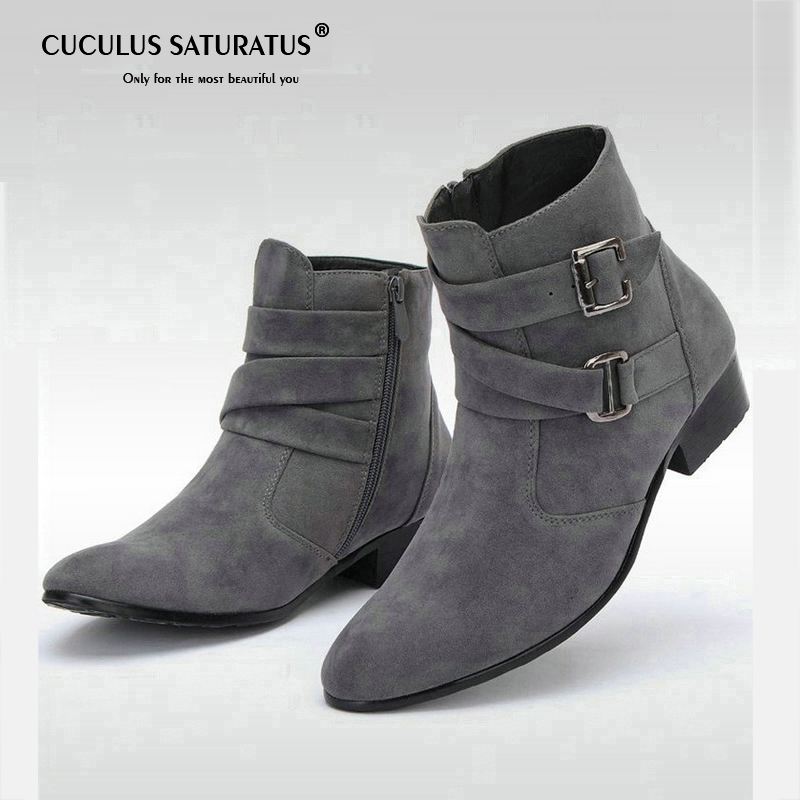 Cuculus Men Boots 2017 Fashion Microfiber Leather Fur Boots Winter Nubuck Leather Warm Men Shoes Outdoor