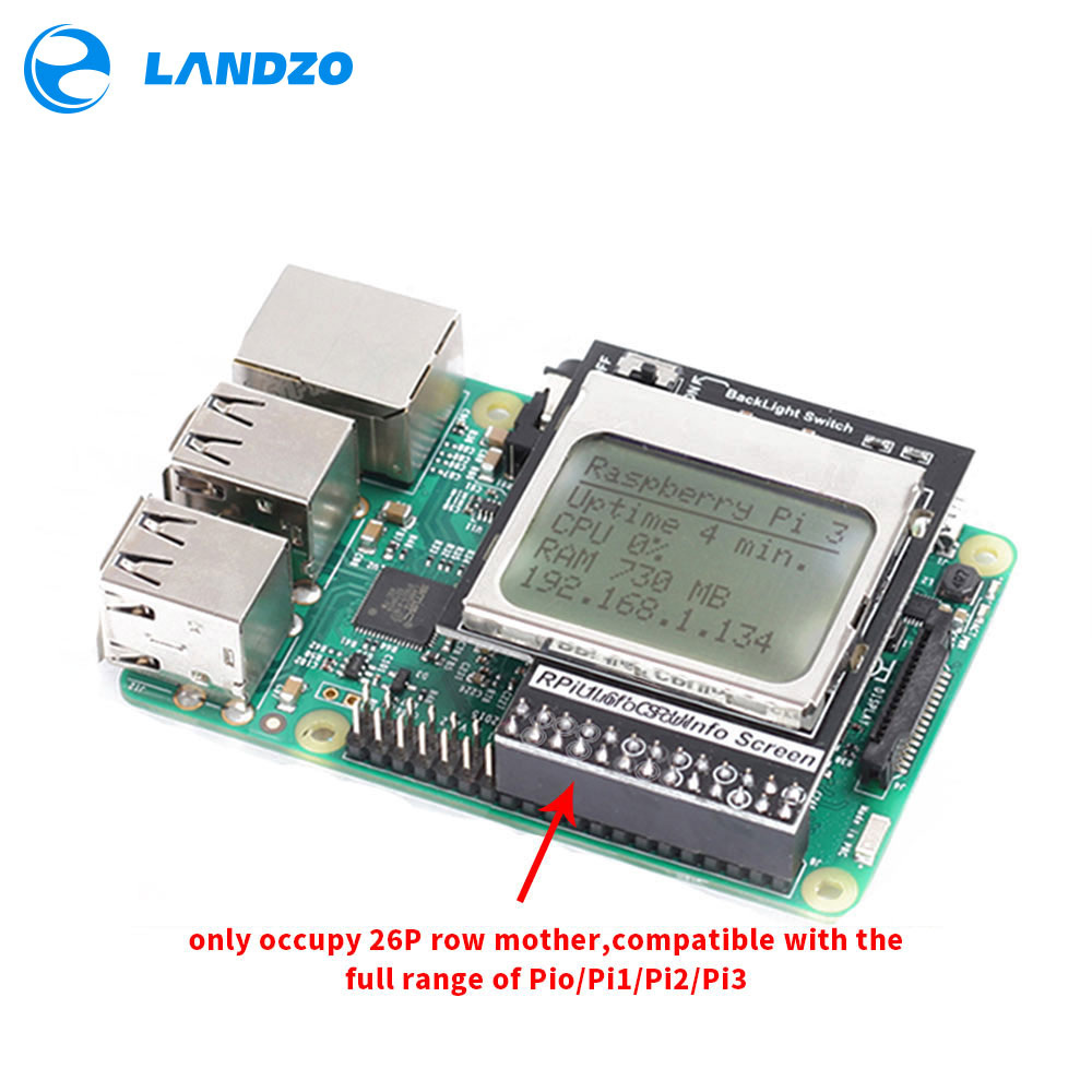 Raspberry Pi 3 Model B CPU Info LCD Screen 1.6 Inch 84x48 With Backlight Switch Compatible Pi2/1 / Orange Pi