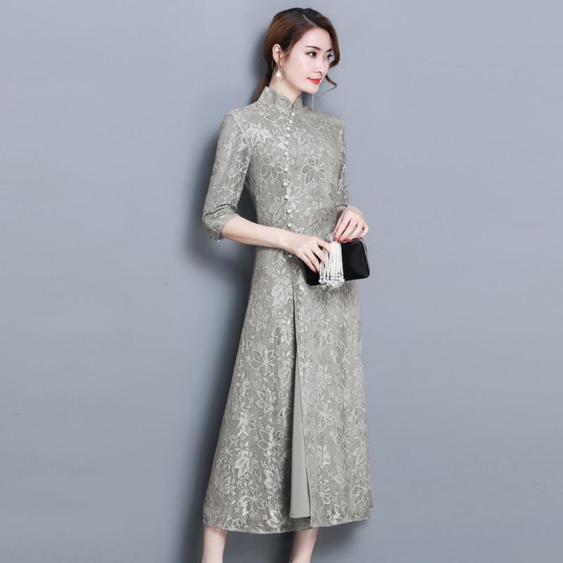 Blu Estate Pizzo Yp0845 Di Slim Vestito Collare Basamento Split Del Colore Solido Partito Abito Primavera Moda grigio Dell'annata Donne Eleganti Dress Stampa wtRgXqq