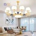 Led e14 железные в стиле постмодерн Хрустальная Золотая белая люстра освещение Lamparas De Techo подвесной светильник Lampen для фойе