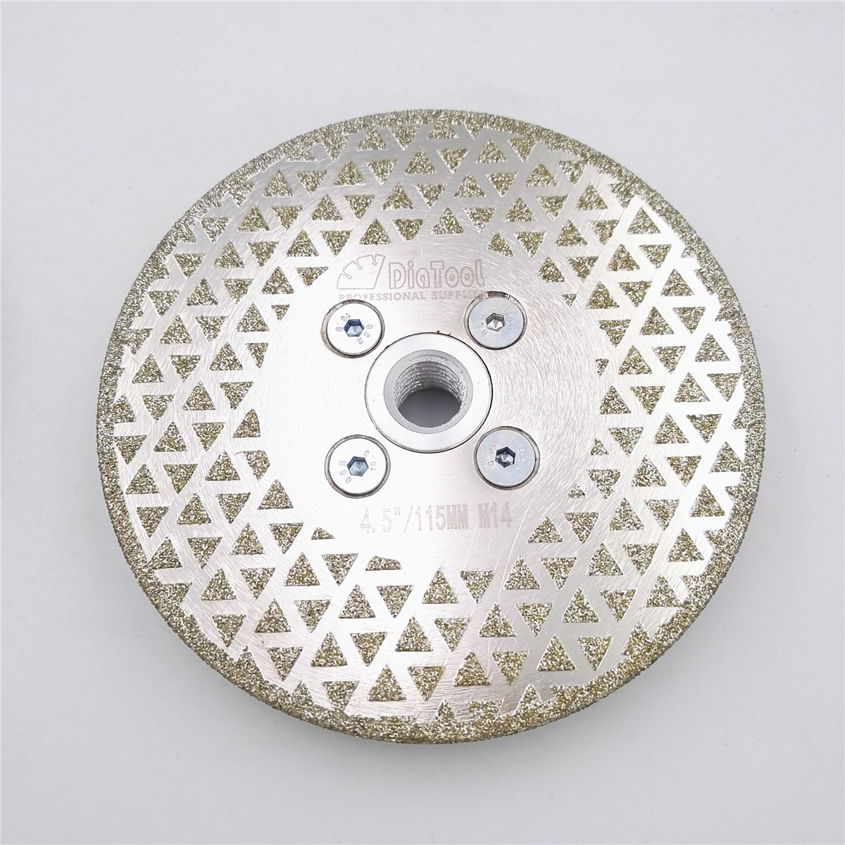 DIATOOL 4.5 Electroplated Both Side Coated Diamond Wheels Triangle Spots Diamond Disc 115mm Cutting & Grinding Blade M14 Thread free shipping coarse medium fine grit 4 inch diamond turbo cup wheels m14 thread for grinding concrete and stone 3pcs set