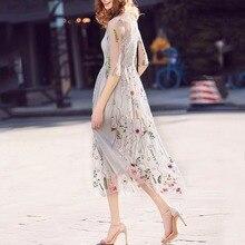 Vestidos 2019 ボヘミアン女性ドレスゴージャスなハーフスリーブドレスシアーメッシュエレガントな刺繍イブニングパーティードレス