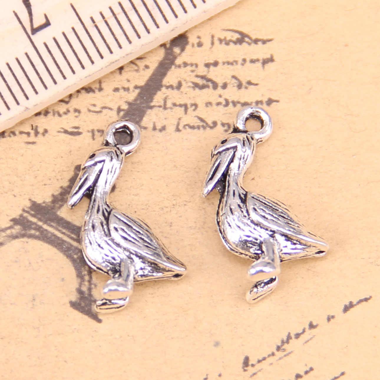 10pcs Sieraden Charms pelikaan sea bird 18x9mm Oud Zilver Hangers Maken DIY Handgemaakte Tibetaans Zilveren sieraden