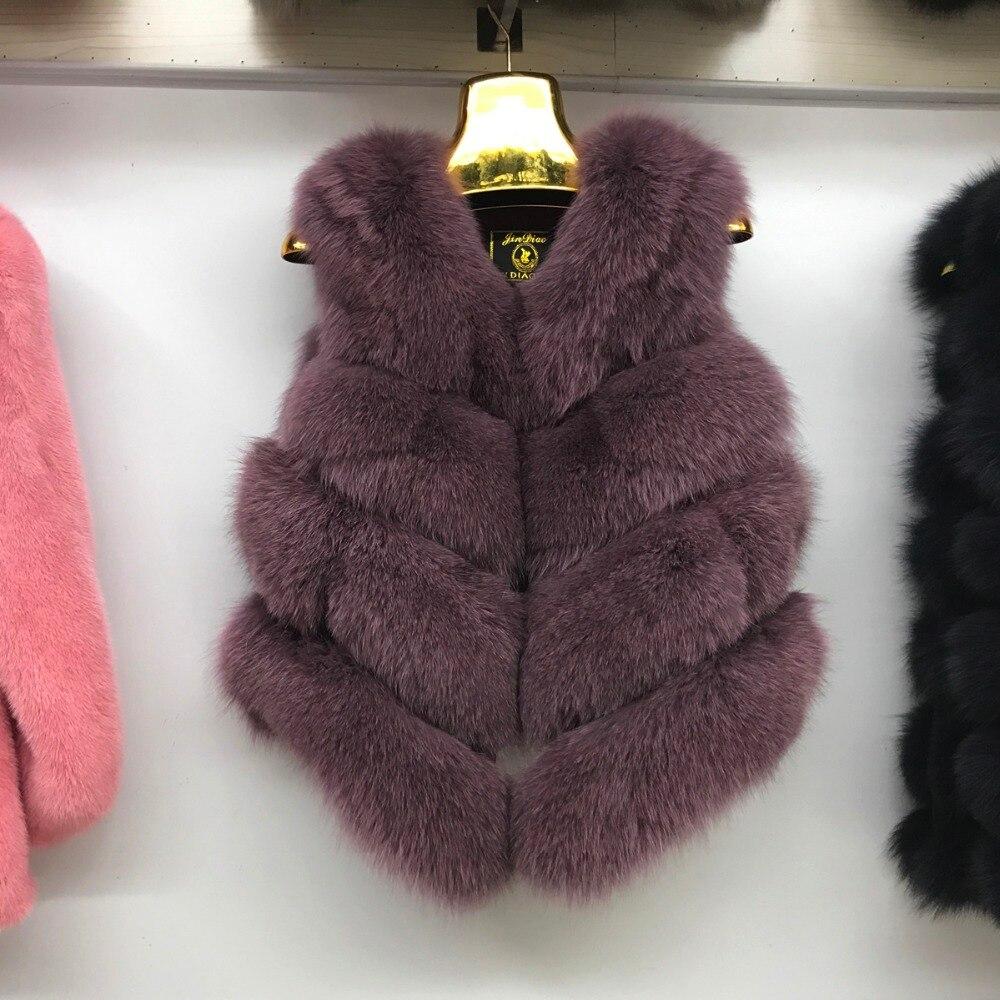 2019 nuevo chaleco de piel auténtica de zorro de invierno 100% Real Natural chaqueta de piel de zorro de buena calidad chaleco de moda-in piel real from Ropa de mujer    3
