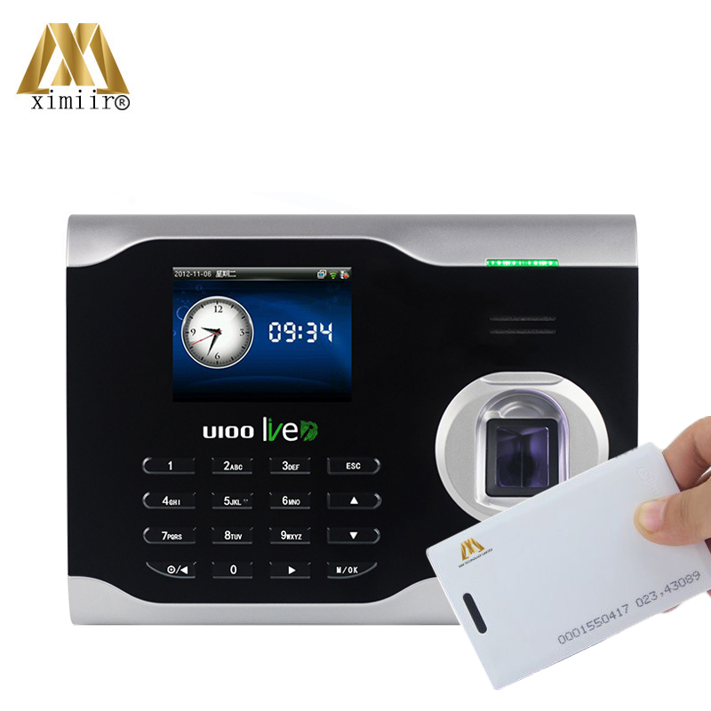 ZK U100 biométrique d'empreintes digitales temps présence système Linux horloge employé assistant contrôle avec carte RFID livraison gratuite