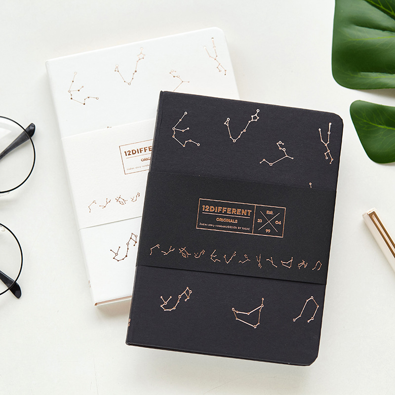 JUGAL Constellation Hardcover Diary Blank Inner Page Sketchbook Black and White Cover School Stationery Gift Bullet Journal web page
