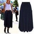 2017 Mujeres de la Marca de Moda Estilo Largo Verano de la Falda Elástico de Cintura Alta Bolsillos Plisados Mitad de la pantorrilla Faldas Solid Casual Faldas Saia