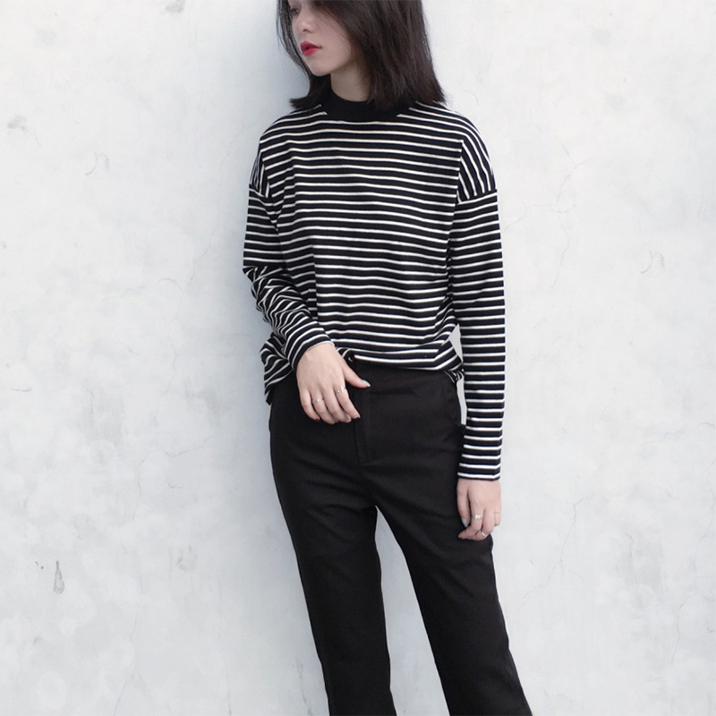 Harajuku Striped Turtleneck T shirt Tee Shirts Woman 2018 Spring New Korean Women Long Sleeve T shirts Casual Tops in T Shirts from Women 39 s Clothing