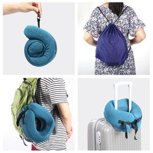 Image 3 - Ayarlanabilir U Şekli Bellek Köpük seyahat boyun yastığı Katlanabilir Kafa Çene Desteği Yastık Uyku Uçak Araba Ofis Yastıkları