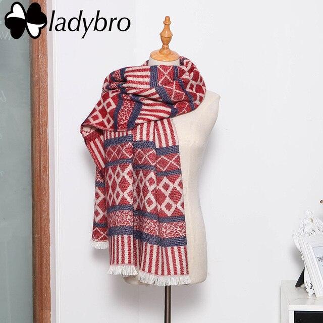 Ladybro Women Scarf Winter Warm Stripe Foulard Femme High Quality Brand Designer Scarf Female 2016 Fashion Wrap Shawl Lady Stole